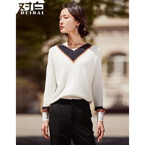 【杜鹃明星同款】对白2017秋装新款时尚撞色V领套头毛衣女 休闲简约直筒长袖针织衫