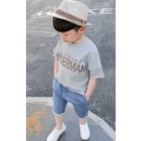 儿童运动休闲套装夏季男童短T短裤牛仔裤T恤两件套