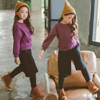韩版女童冬装套装中大童纯棉加绒卫衣儿童哈伦裤时尚套潮