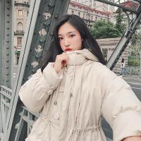 2018秋季新款2018新款反季韩版面包服chic羽绒女中长款过膝棉衣棉袄冬外套 米白色