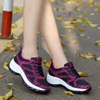 春季新款女士登山鞋内增高防滑户外运动休闲鞋飞织徒步旅游鞋夏季