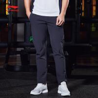 李宁运动裤男士2018新款训练系列长裤薄款男装夏季平口梭织运动裤AYKN021