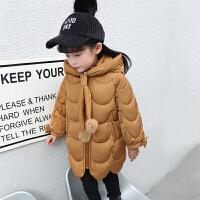 2018033454954女童棉衣新款中长儿童冬季韩版羽绒加厚外套宝宝棉袄冬装 焦糖色 时尚