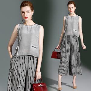 RANJU然聚 2018夏季女装新品新款款蕾丝拼接短袖T恤上衣+水墨印花雪纺阔腿裤套装