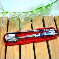 韩版文具盒式不锈钢印花餐具两件套(筷+勺)花色随机