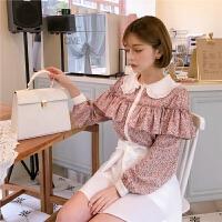 【书香节 到手价:191.2元】chuu蕾丝雪纺衫女2020春装新款韩版碎花衬衫娃娃领小个子甜美小衫