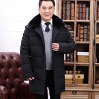 冬季男士羽绒服中老年父加厚中长款父外套中年爸爸装大码外套 687黑色 190