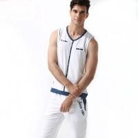 韩版潮男修身薄款无袖篮球服 新款男士背心运动套装户外运动V领休闲套装