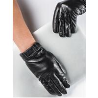 时尚大气女士羊皮触摸屏手套保暖加绒加厚摩托车骑行真皮手套 可礼品卡支付
