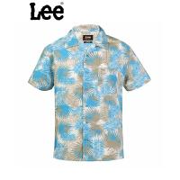 Lee 【断码】蓝色时尚印花短袖衬衫6392-6V6R