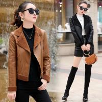 女士皮衣短款2018新款冬季韩版显瘦机车皮夹克加绒加厚翻领短外套
