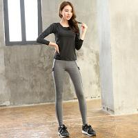 新款瑜伽服长裤套装女两件套速干显瘦修身跑步服运动健身上衣大码