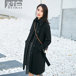 对白气质复古翻领毛呢外套女新款中长款休闲黑色呢大衣