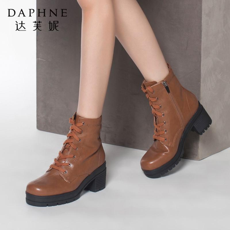 Daphne/达芙妮正品女鞋冬季圆头女靴时尚潮流靴子中跟英伦马丁靴年末清仓,售罄不补货!