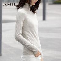 【会员节! 每满100减50】Amii[极简主义]100%精纺小山羊绒 双股16针 自然卷边高领羊绒衫