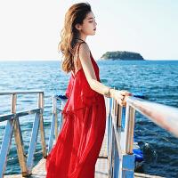 红色雪纺连衣裙女装2018夏季新款沙滩初恋裙复古吊带长裙子女春装