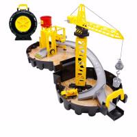 合金工程车轮拼装轨道儿童停车场手提便携轮胎玩具