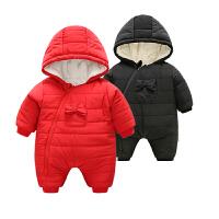婴儿连体衣服0岁3个月女宝宝新生儿衣服冬季冬装秋冬季棉衣外出服