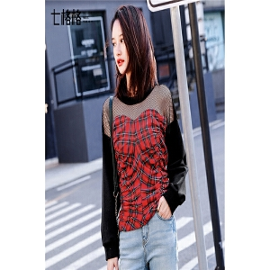 七格格红色格子性感卫衣女装春装新款韩版chic百搭学生宽松套头长袖