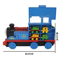 大号合金托马斯小火车套装惯性电动音乐滑梯磁性男孩玩具汽车模型 蓝色 大号36cm小火车