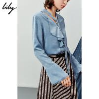 【2件3折 折后价:149】Lily春秋女装不对称荷叶边飘带V领套头雪纺衫119350C8257
