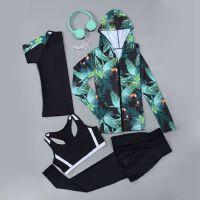 春夏健身房运动套装女晨跑步瑜伽服长袖速干上衣宽松健身服四件套