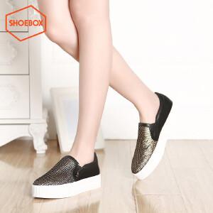 达芙妮旗下shoebox鞋柜/苹绮 潮套脚平底单鞋 简约中跟女鞋
