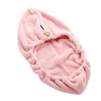 日式干发帽浴帽吸水可爱速干长发干发毛巾儿童 短绒 粉红色