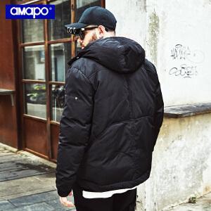 【限时抢购到手价:210元】AMAPO潮牌大码男装冬季加肥加大码宽松加厚短款棉衣肥佬外套男潮