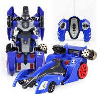 宝宝儿童遥控汽车变形金刚霹雳赤焰骑士模型螺旋变形弹射男孩玩具车 蓝色