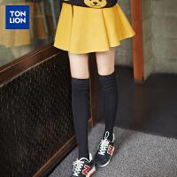 [2件1折28.9元]唐狮秋冬装新款半身裙韩版女高腰字裙撞色太阳短裙百褶裙潮