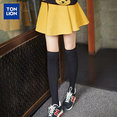 [2件1折28.9元]唐狮秋冬装新款半身裙韩版女高腰字裙撞色太阳短裙百褶裙潮 全场2件1折起