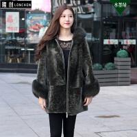 羊剪绒皮毛一体2017女装外套秋冬新款土耳其中长款大衣连帽皮草 均码