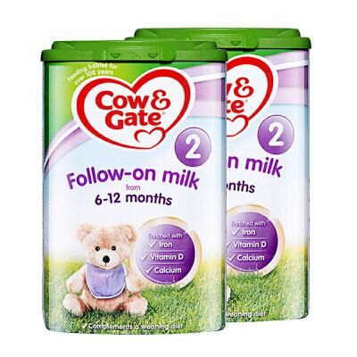 【2段】英国直邮/保税仓发货 英国Cow&Gate牛栏 婴幼儿奶粉 二段(6-12个月) 800g*2罐 海外购 新老包装随机