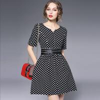 欧洲站女装春季拼接真皮腰套头短裙新款波点V领连衣裙6145 黑色