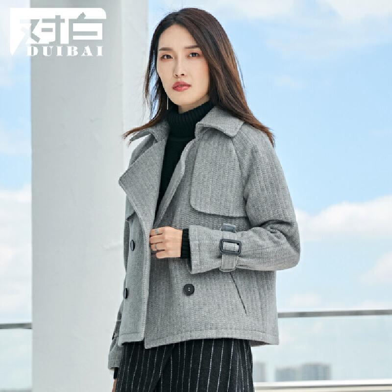 对白简约短款直筒毛呢大衣女冬季休闲翻领长袖呢子外套短款外套插肩袖型玉米粒面料可调节袖袢