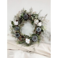 北欧ins森系银果满枝木棉花松果干花花环壁饰墙面装饰花婚庆干花