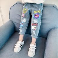 女童牛仔裤春装儿童春秋裤宽松女孩休闲破洞裤子