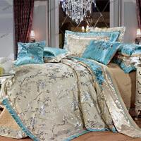 家纺别墅双人床上用品全棉四件套多件套十件套贡缎提花绣花