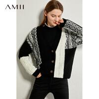 Amii极简洋气慵懒毛衣外套女2021春新款宽松撞色针织开衫外穿上衣