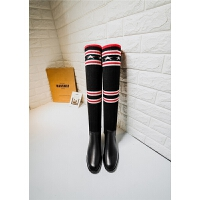 年秋冬新款明星网红同款高筒靴牛皮加毛线弹力长靴 黑色