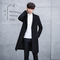 羊绒大衣男士中长款冬季青年宽松潮流韩版外套时尚帅气羊毛呢风衣 黑色