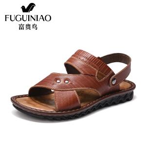 富贵鸟(FUGUINIAO)凉鞋夏季新款头层牛皮露趾小突起按摩鞋垫沙滩鞋男鞋