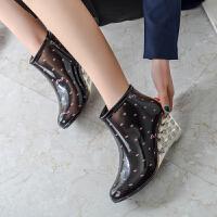 秋冬女士短筒雨靴高跟时尚舒适水鞋防滑坡跟胶鞋休闲雨鞋套鞋