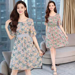 雪纺连衣裙2018新款女装夏装显瘦中长款夏季小个子碎花裙