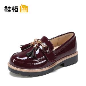【达芙妮超品日 2件3折】鞋柜春季新款流苏小皮鞋公主鞋休闲单鞋-