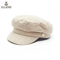 【到手价:258元】ELAND秋冬新款英伦格纹平顶鸭舌帽韩版百搭报童帽EEAC9FT02T