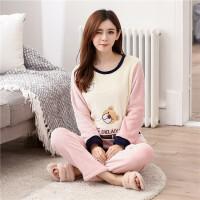 冬季法兰绒睡衣女长袖大码加厚珊瑚绒可爱卡通韩版女士家居服套装