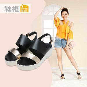 达芙妮旗下shoebox鞋柜夏季时尚拼色凉鞋一字式扣带厚底女鞋