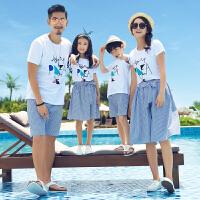 亲子装夏装新款潮全家装母女母子短袖T恤套装一家三口沙滩装